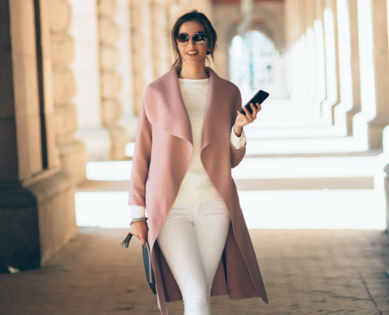 woman in high fashion with architectural background